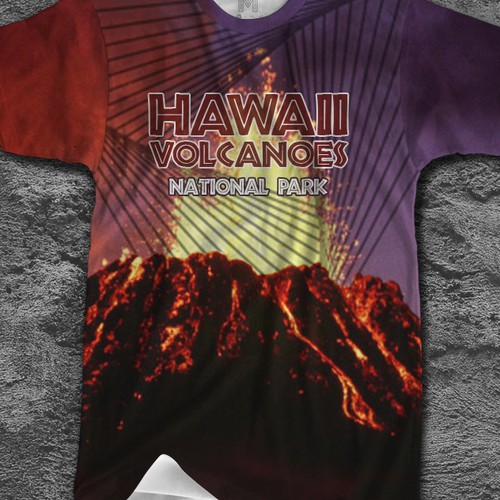 Volcano design with the title 'Hawaii Volcanoes National Park T-shirt Design'