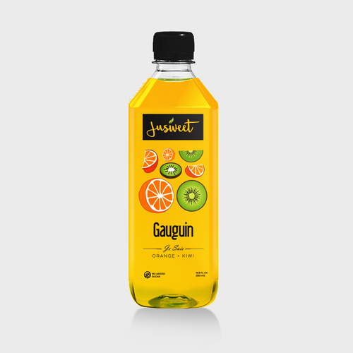 Orange label with the title 'fruit jus label'