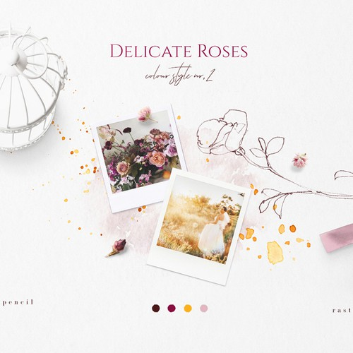 Elegant illustration with the title 'Rose Sketches & Watercolor Clipart Color Palette'