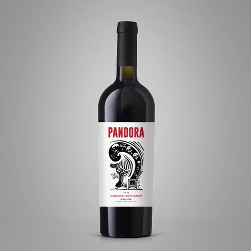 Red wine label with the title 'Wine Label 'Pandora''