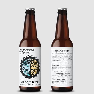 Maori Kiss beer logo/illustration & label design