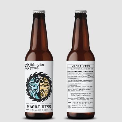 Maori Kiss beer logo/illustration & label design