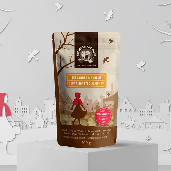 Nut design with the title 'Logo, package and illustrations for sugar roasted nuts company'