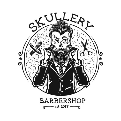 Gentleman logo with the title 'SKULLERY barbershop'