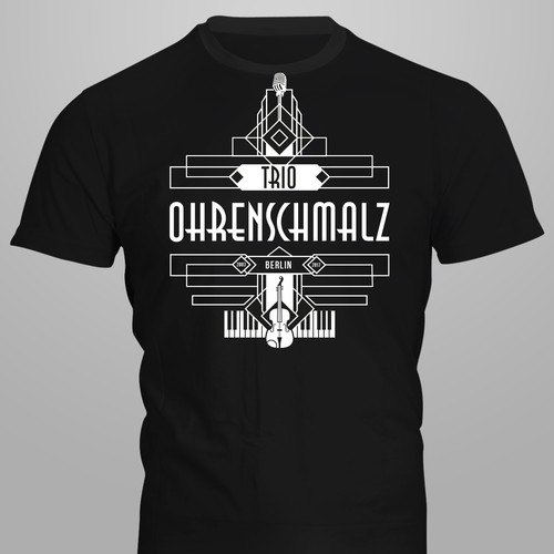 Geometric t-shirt with the title 'Festival-Shirt in the style of the »Roaring 20s«'
