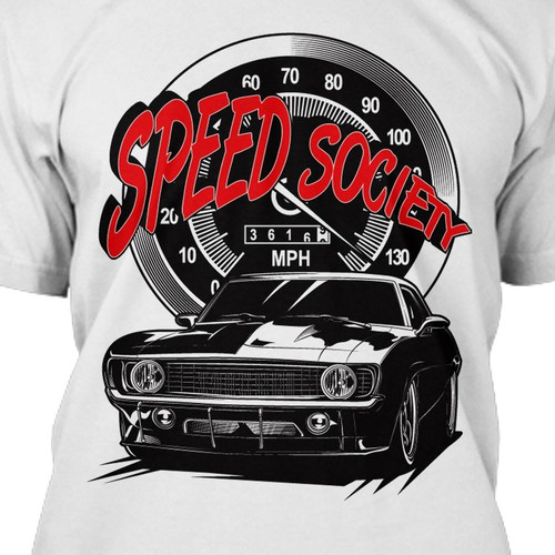 Car t-shirt with the title 'Speed Society Tshirt Design'