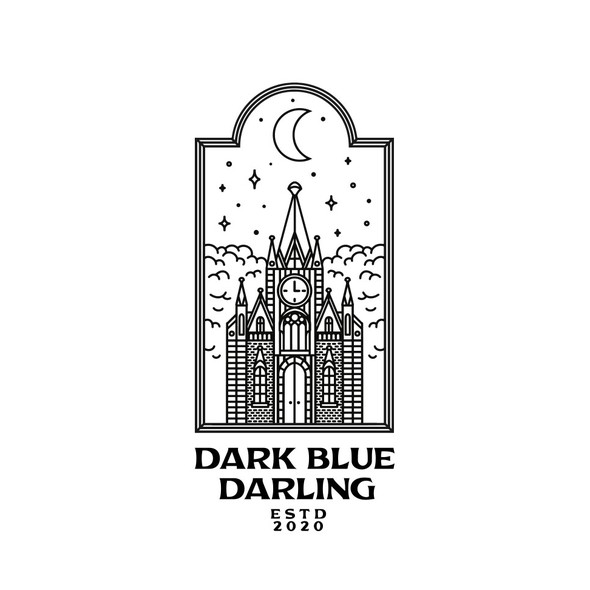 Gothic logo with the title 'Dark Blue Darling'