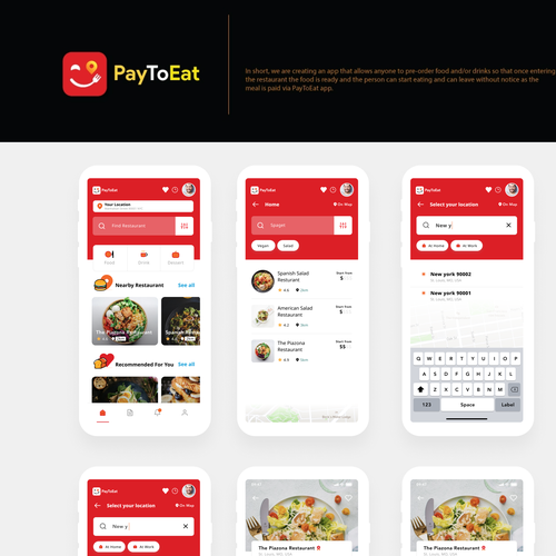 Adobe XD design with the title 'Pay to eat mobile app'