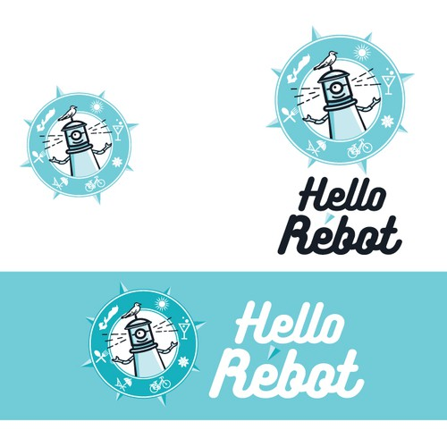 Tropical island logo with the title 'Logo for Hello Rébot'