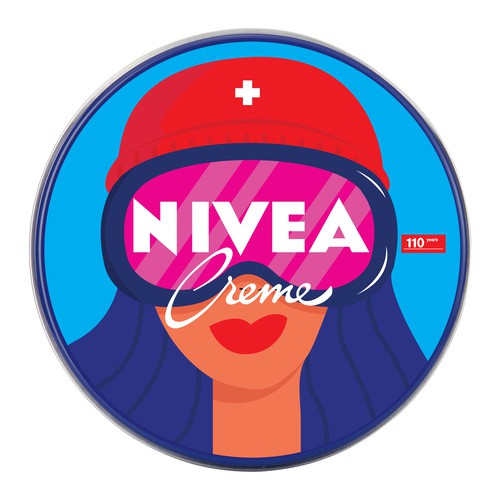 Cosmetics illustration with the title 'Concept for NIVEA Creme Swiss Anniversary Edition packaging'
