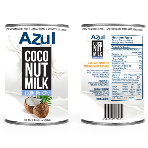 White packaging with the title 'Coconut milk can label design'