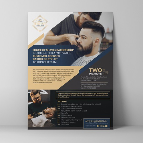 Hair salon design with the title 'Poster design'