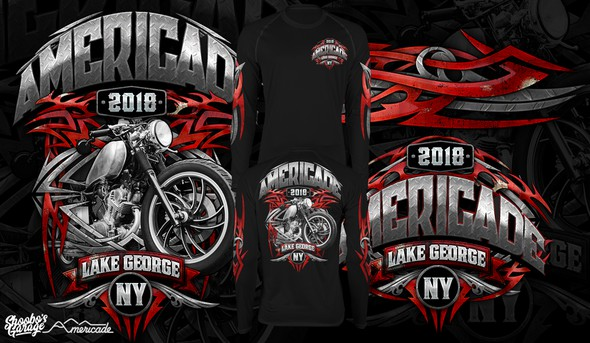 Motorcycle t-shirt with the title 'Americade'