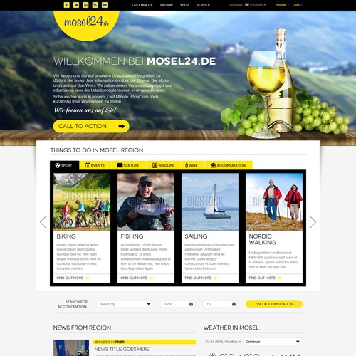 Portal design with the title 'Informational webdesign'