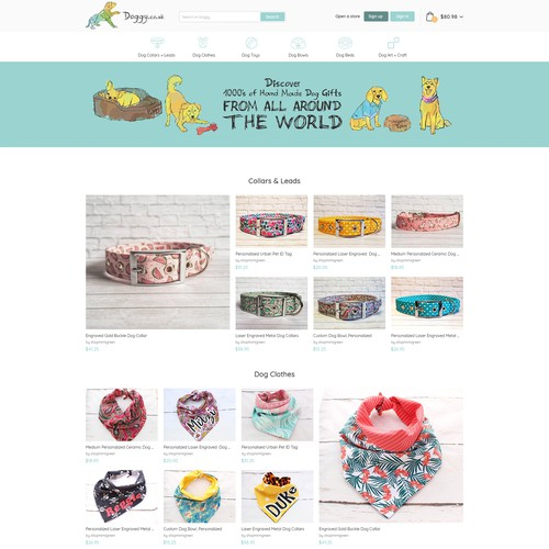 Dog website with the title 'Doggy Homepage Design'