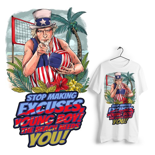 Volleyball design with the title 'The beach needs you'