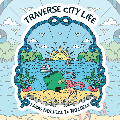 Cityscape design with the title 'Traverse City sticker design with a bit of humor'