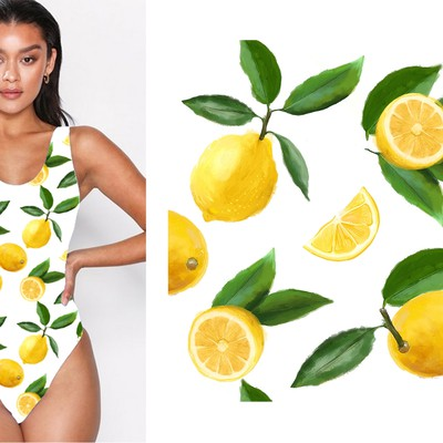 Lemon Print Pattern for Swimwear Fabric