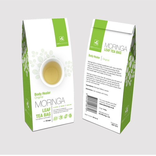 Healthy food packaging with the title 'Eat Moringa'