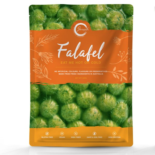 Icon packaging with the title 'Packaging concept for frozen falafel'