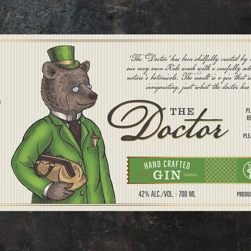 """Bear design with the title 'Label and illustration for GIN """"The Doctor""""'"""