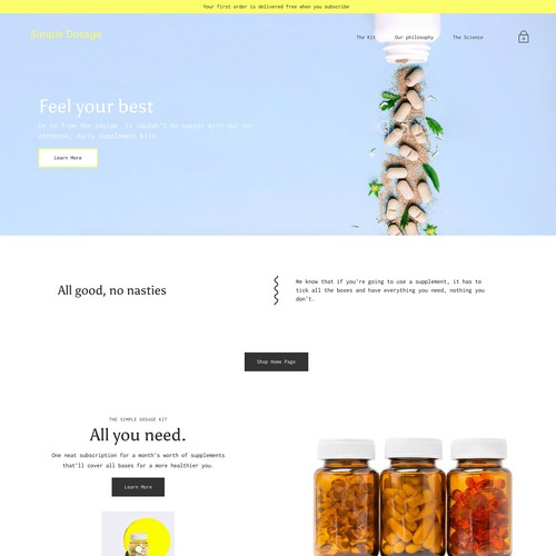 Wellness website with the title 'Bold Shopify Website Design for a Supplements Brand'