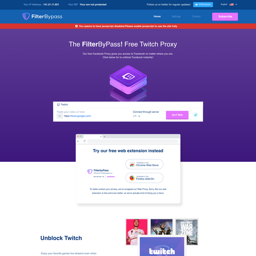 Streaming design with the title 'Vpn and proxy landing page'