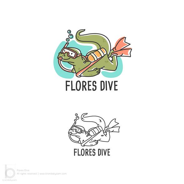 Scuba logo with the title 'Logo Design for Flores Dive'