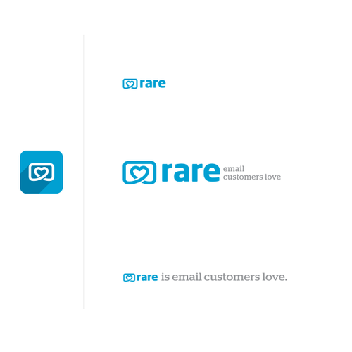 Heart logo with the title 'Logo design for Rare - Email Customers Love '