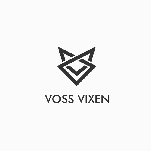 Edgy logo with the title 'simple symmetrical design for VOSS VIXEN an active wear brand'