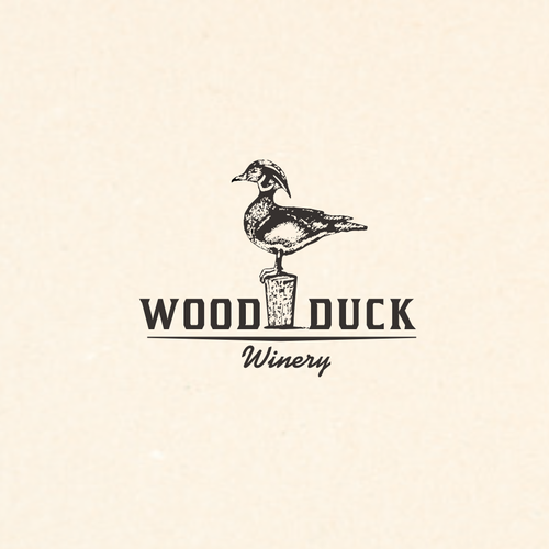 Duck design with the title 'Elegant rustic logo for winery'