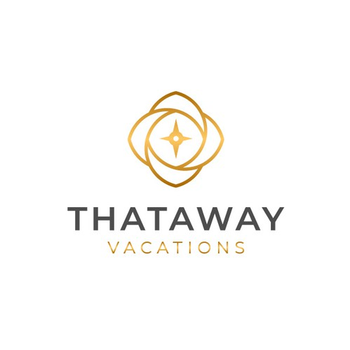 Compass rose design with the title 'Luxury Travel logo concept for Thataway Vacation'