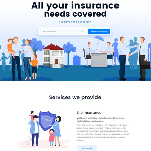 Artificial intelligence website with the title 'Home Page Design for Insurance Site'