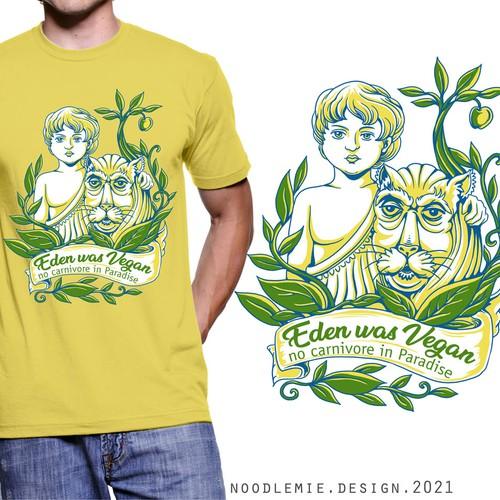 Vegan design with the title 'A Vegan Paradise T-shirt'
