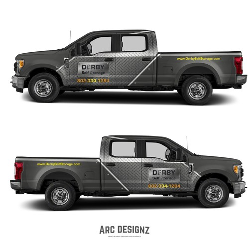 Vinyl wrap design with the title 'Truck wrap for derby storage'
