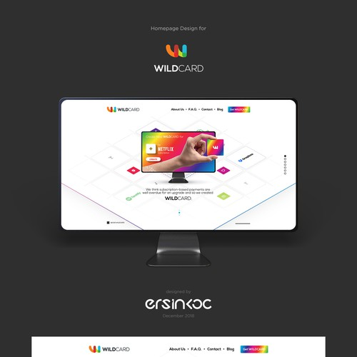 Interface website with the title 'Landing page design for WildCard'