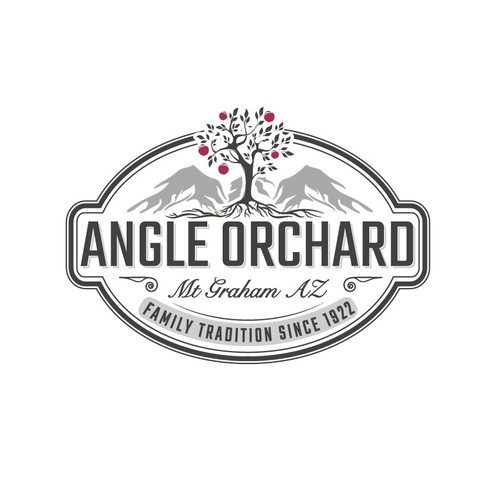 Log design with the title 'Logo Angle Orchard'