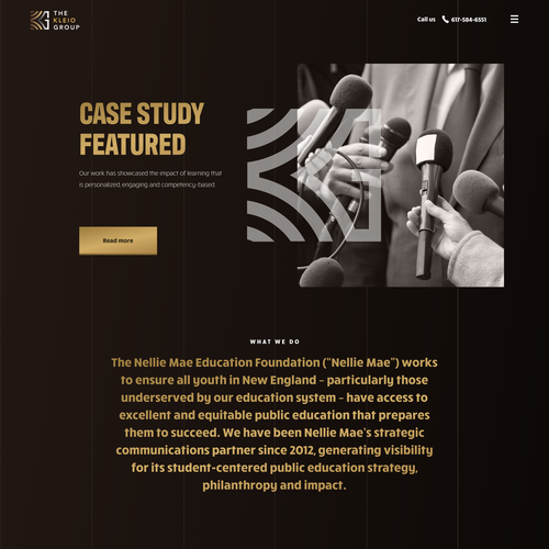 Theme design with the title 'Case study page for kleio group'