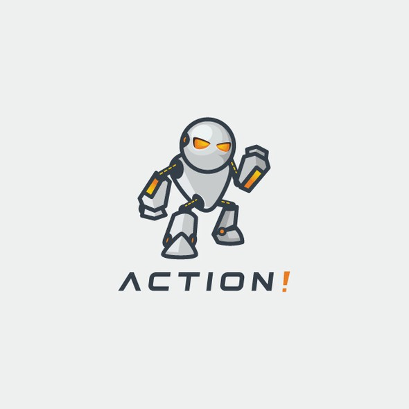 Action logo with the title 'Simple robot logo'