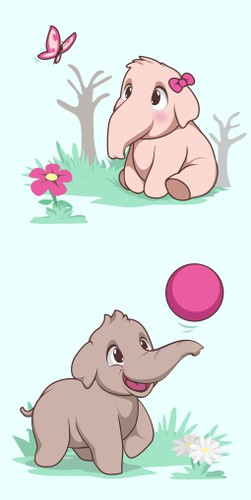 Baby design with the title 'Adorable Baby Elephant'