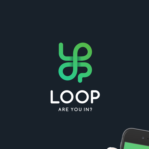 Connection design with the title 'Fun Logo for App: Loop - Are you In?'