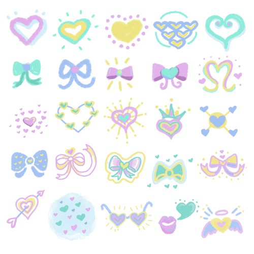 Japanese illustration with the title 'Cute Heart and Ribbon design set for a Stylish Photo Editing App'