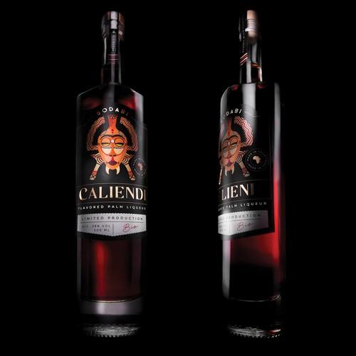 Liquor label with the title 'Sodabi Caliendi - Flavored palm liqueur'