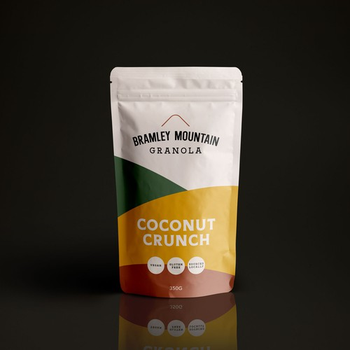 Granola packaging with the title 'Packaging for Bramley Mountain Granola'