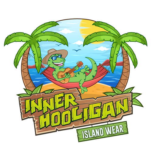 Gecko design with the title 'Inner Hooligan Island Wear'
