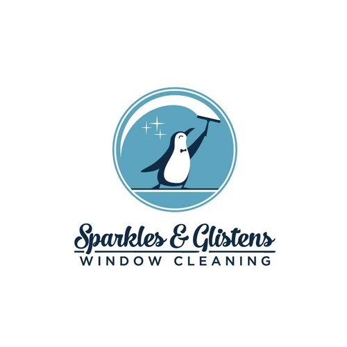 Mascot logo with the title 'Window-cleaning penguin'