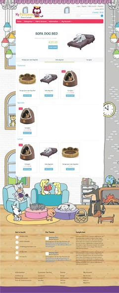 Animal character artwork with the title 'Create a fun brand driven website illustration for new pet product company'
