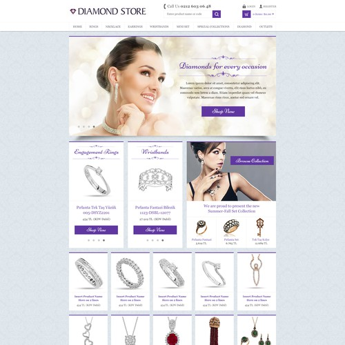 Minimalist website with the title 'Clean Diamon Store Design'