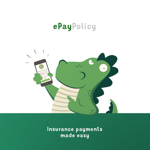 Godzilla design with the title 'Mascot for ePay Policy, a digital payment processor'