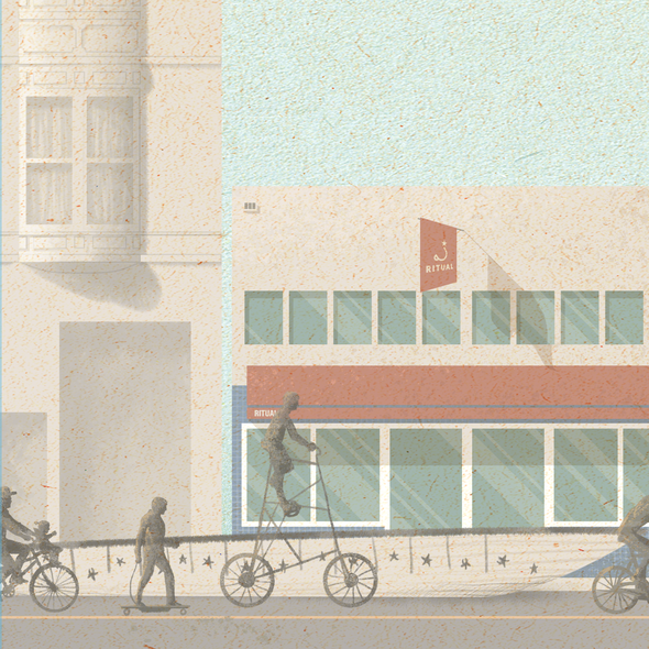 Coffee shop illustration with the title 'Easy Rider/visual identity for ritual coffee '